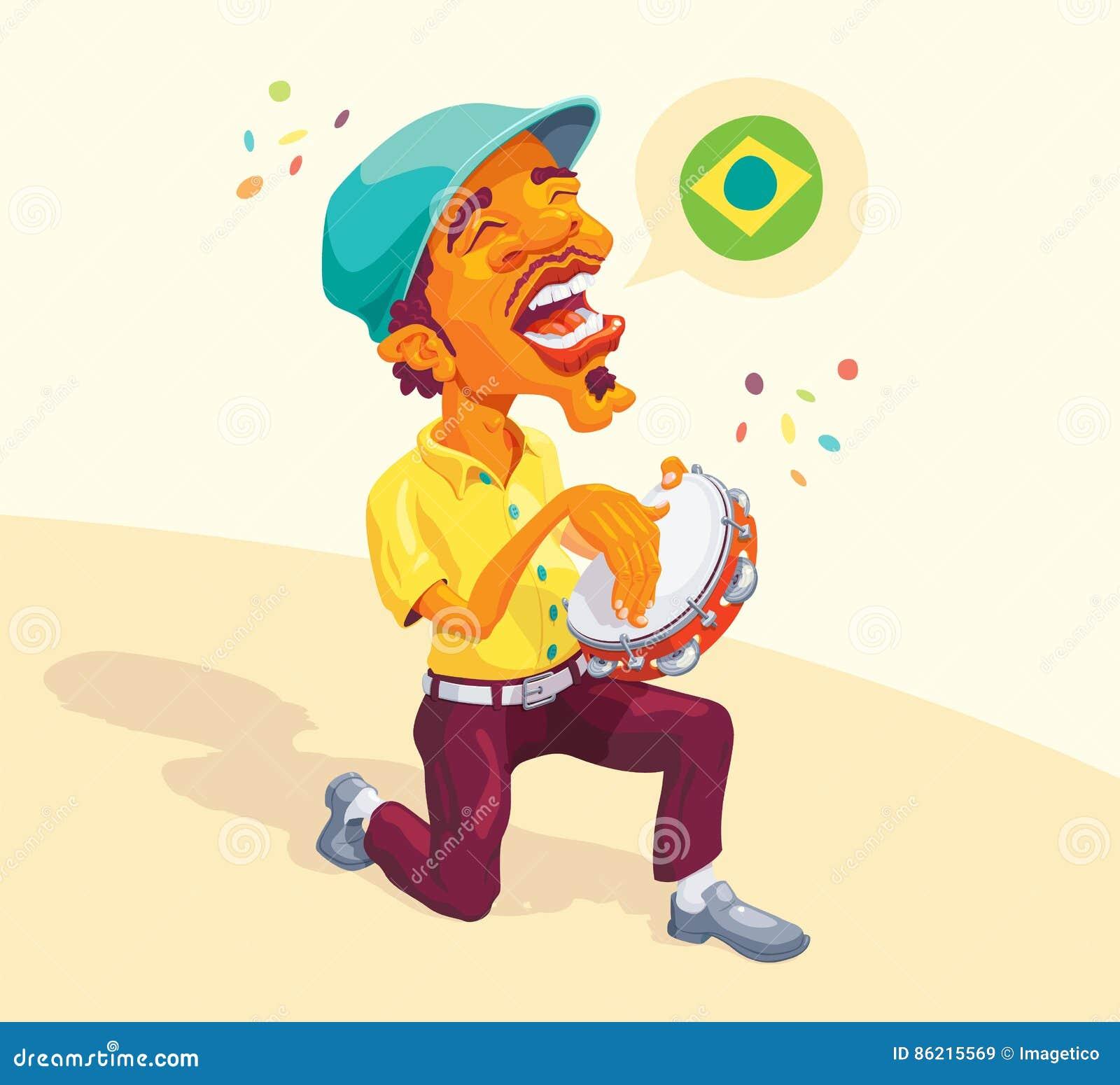 Brazilian Tambourine Player Stock Vector - Image: 86215569