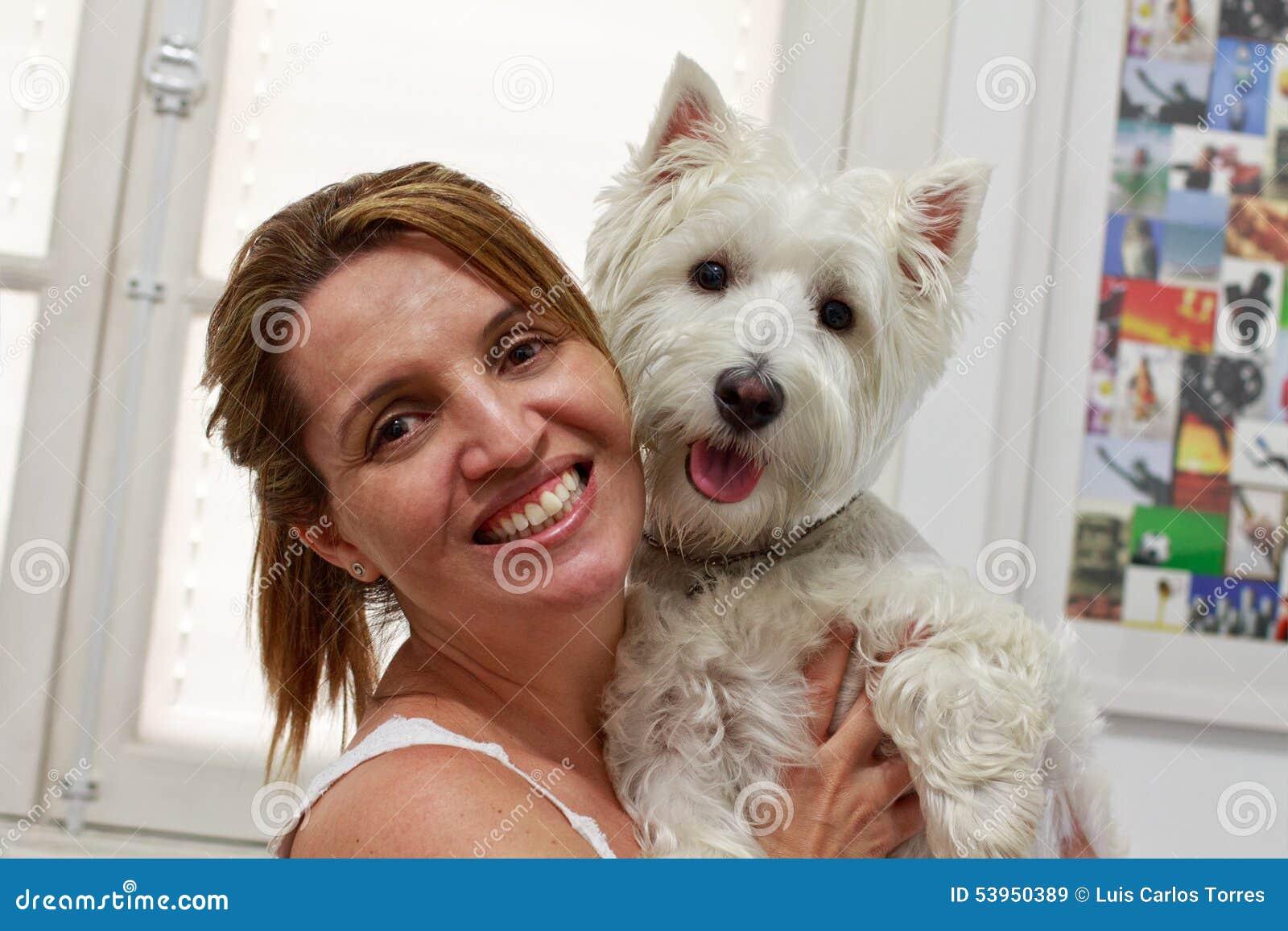 Brazilian woman and her Westie