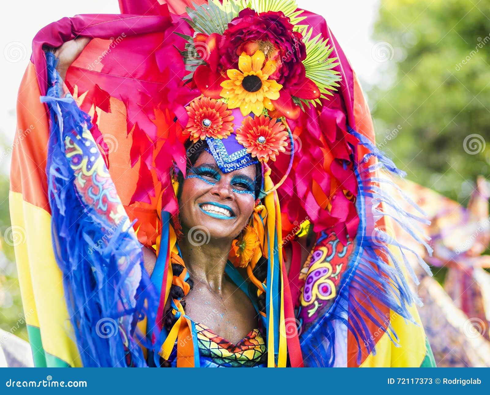 Brazilian Woman in Rio Carnaval, Rio de Janeiro, Brazil Editorial Stock Photo
