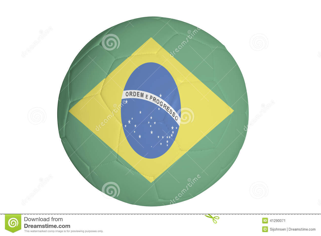 Brazillian flag graphic on football