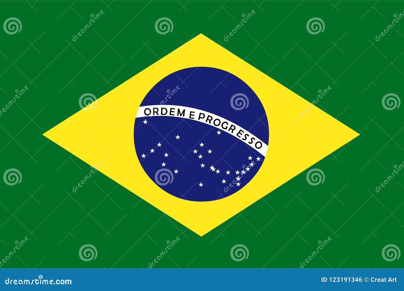 Brazylia flaga wektor chorągwiana Brazil ilustracja