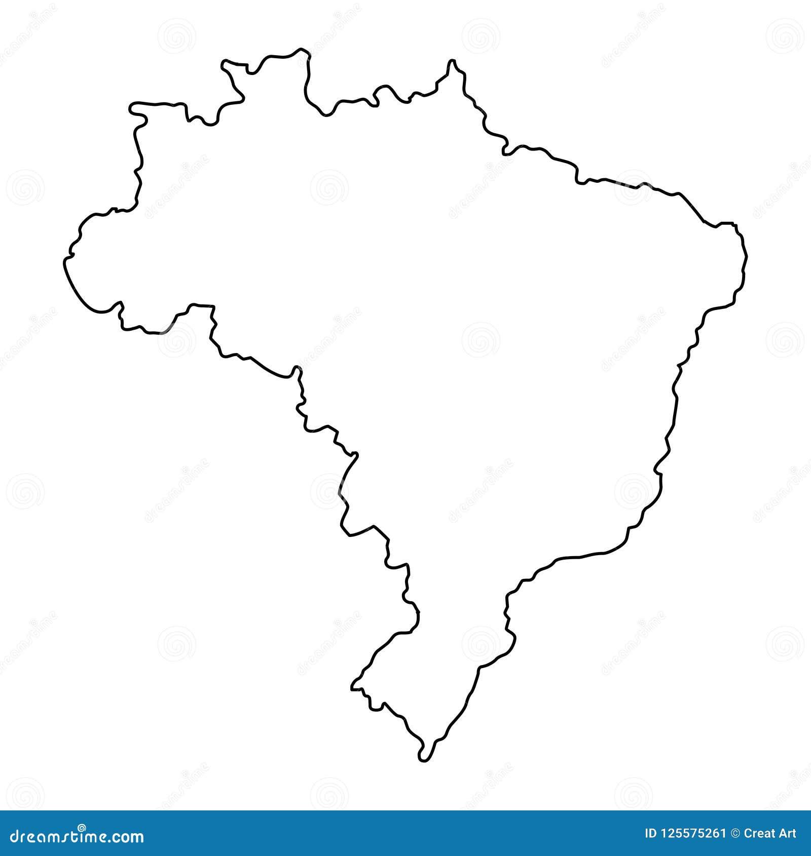 Brazylia konturu mapy wektoru ilustracja