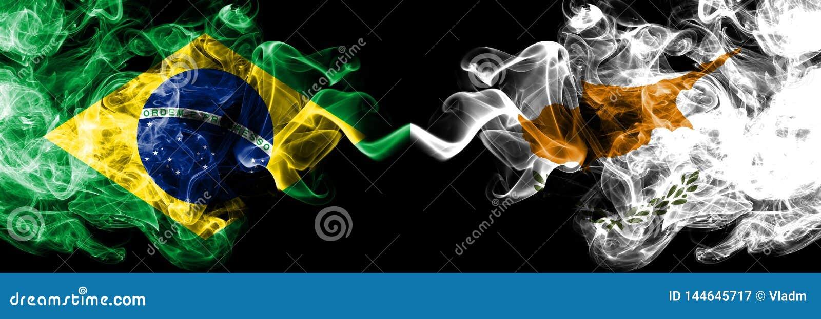 Brazylia vs Cypr, cypryjczyka dymu flaga umieszczająca strona strona - obok - Gęste barwione silky dymne flagi brazylijczyk i C