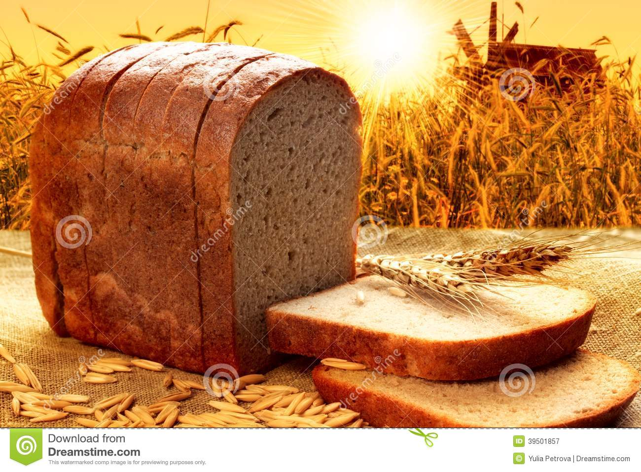 Bread with the background of the corn field