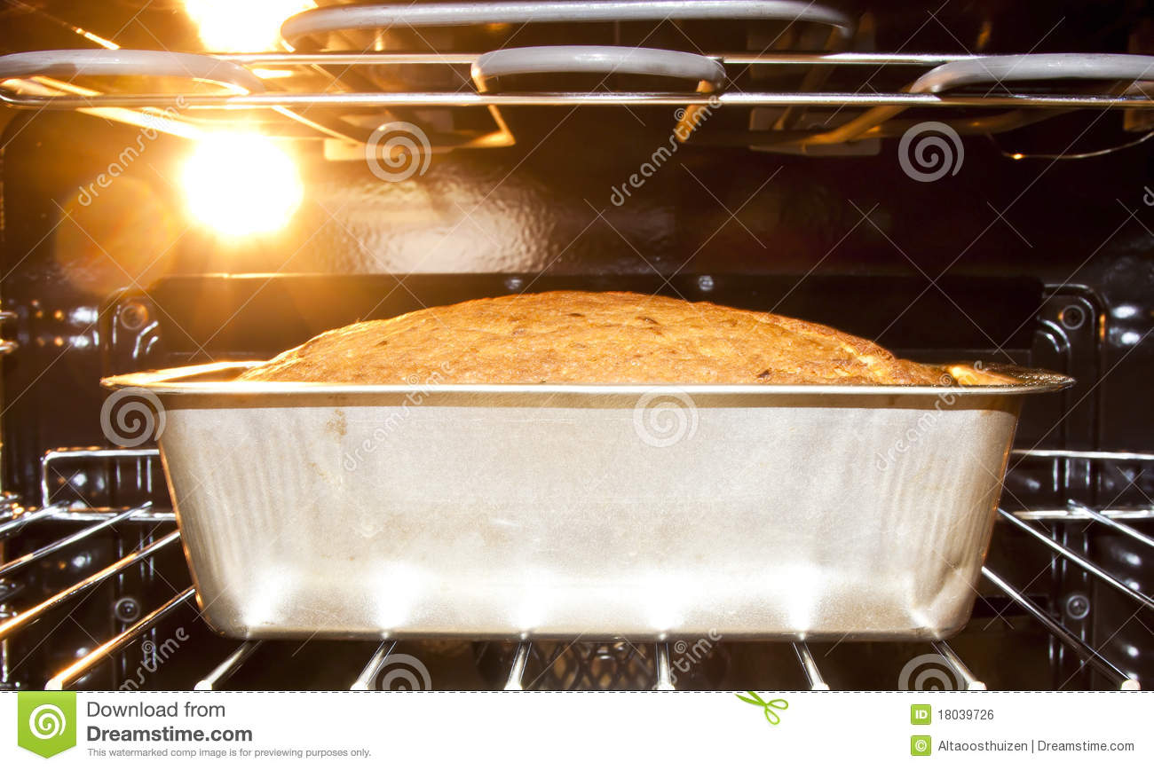 Bread Baking In The Hot Oven Royalty Free Stock Image