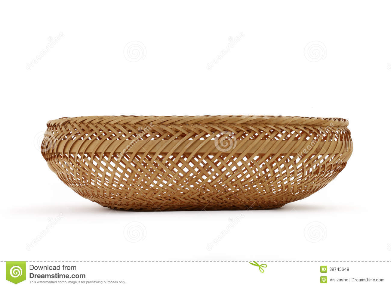 Bread basket on a white background on white