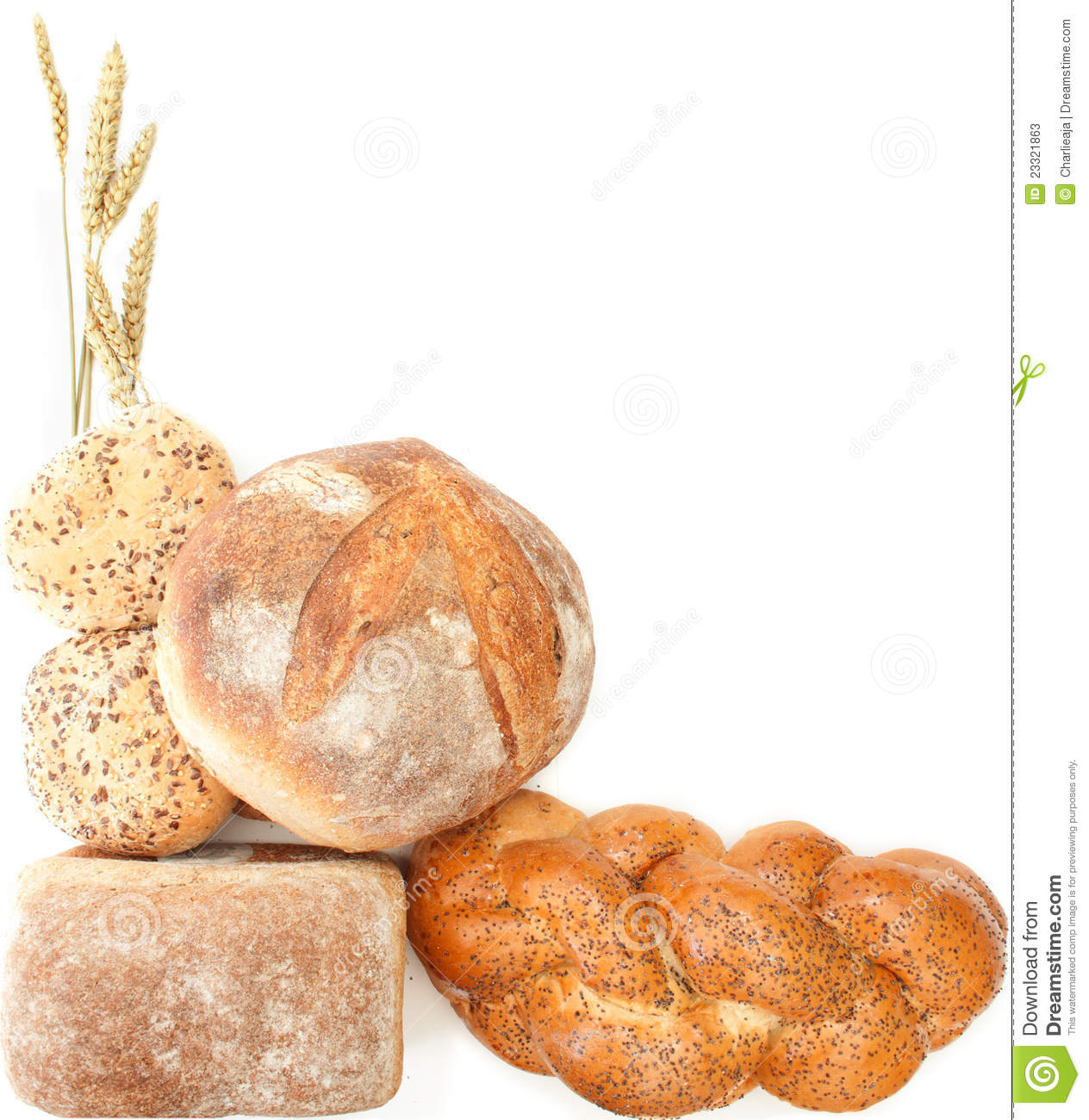 Collection of bread loaves and baguettes with room for text.