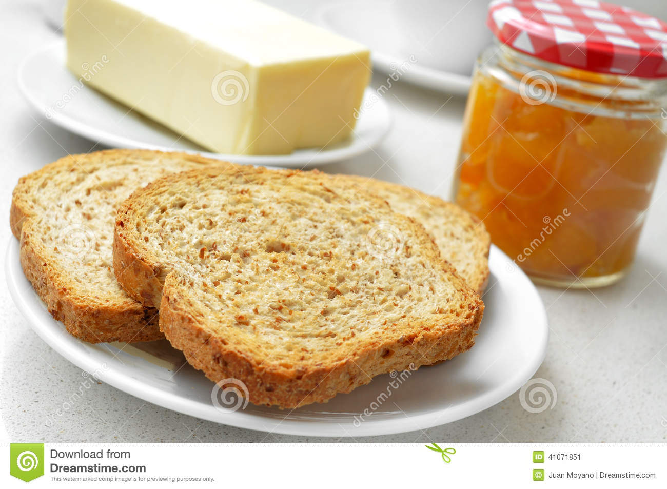 Bread Butter And Jam Stock Photo Image 41071851