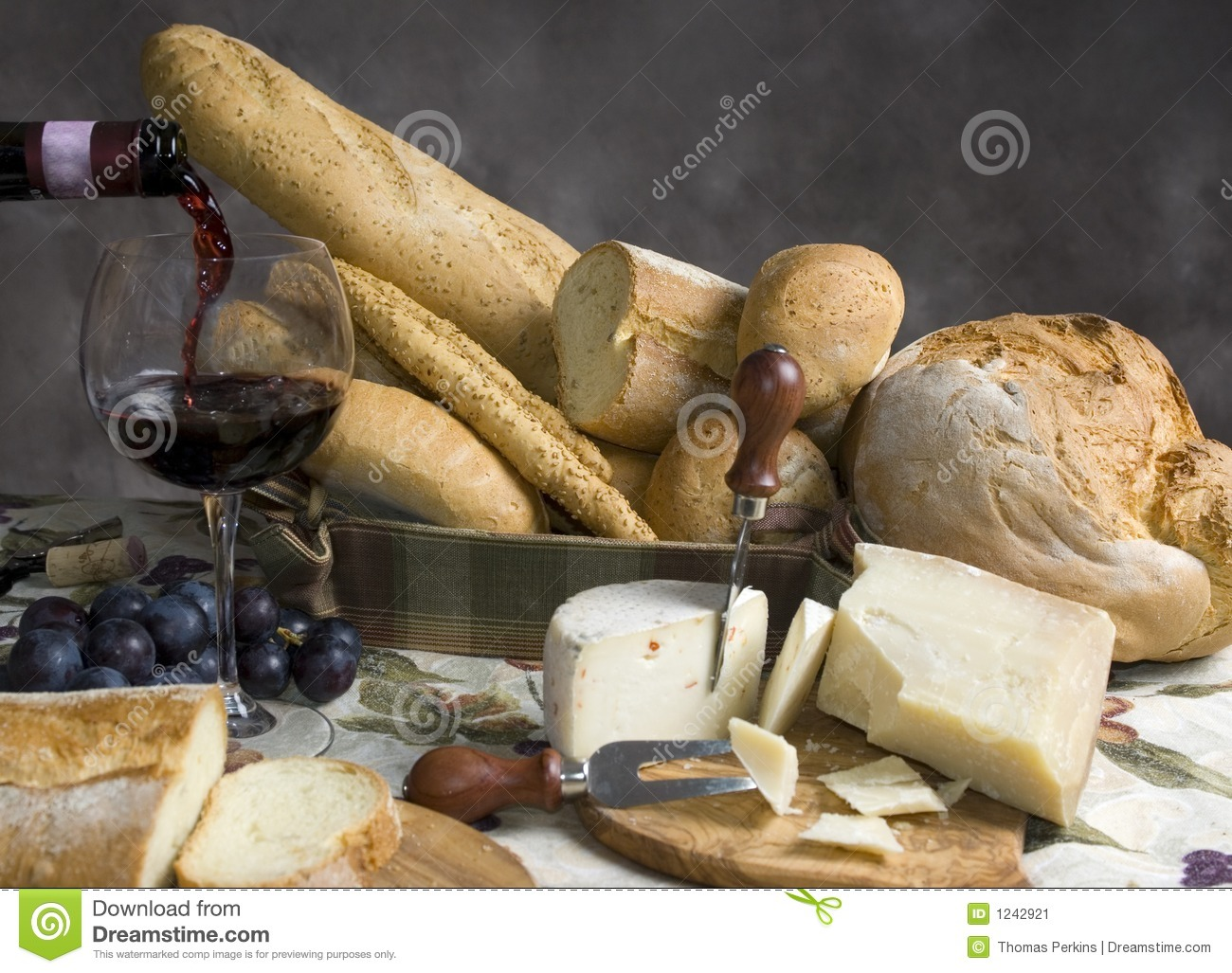 Bread and Cheese with a glass of wine 2