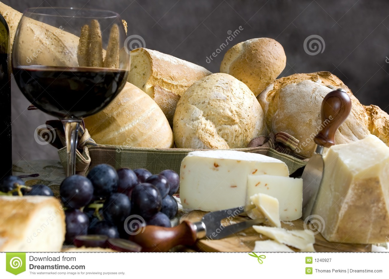 Bread and Cheese with a glass of wine 3