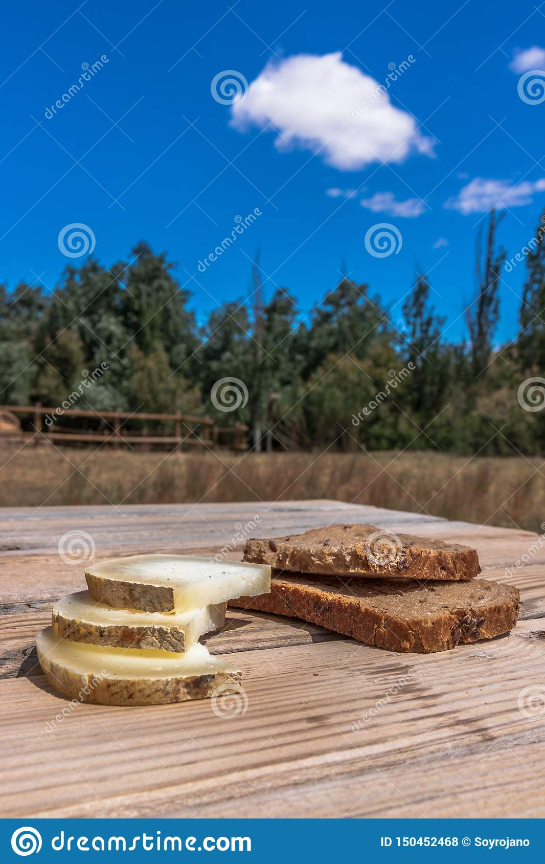 Bread with cheese in a wonderful lanscape
