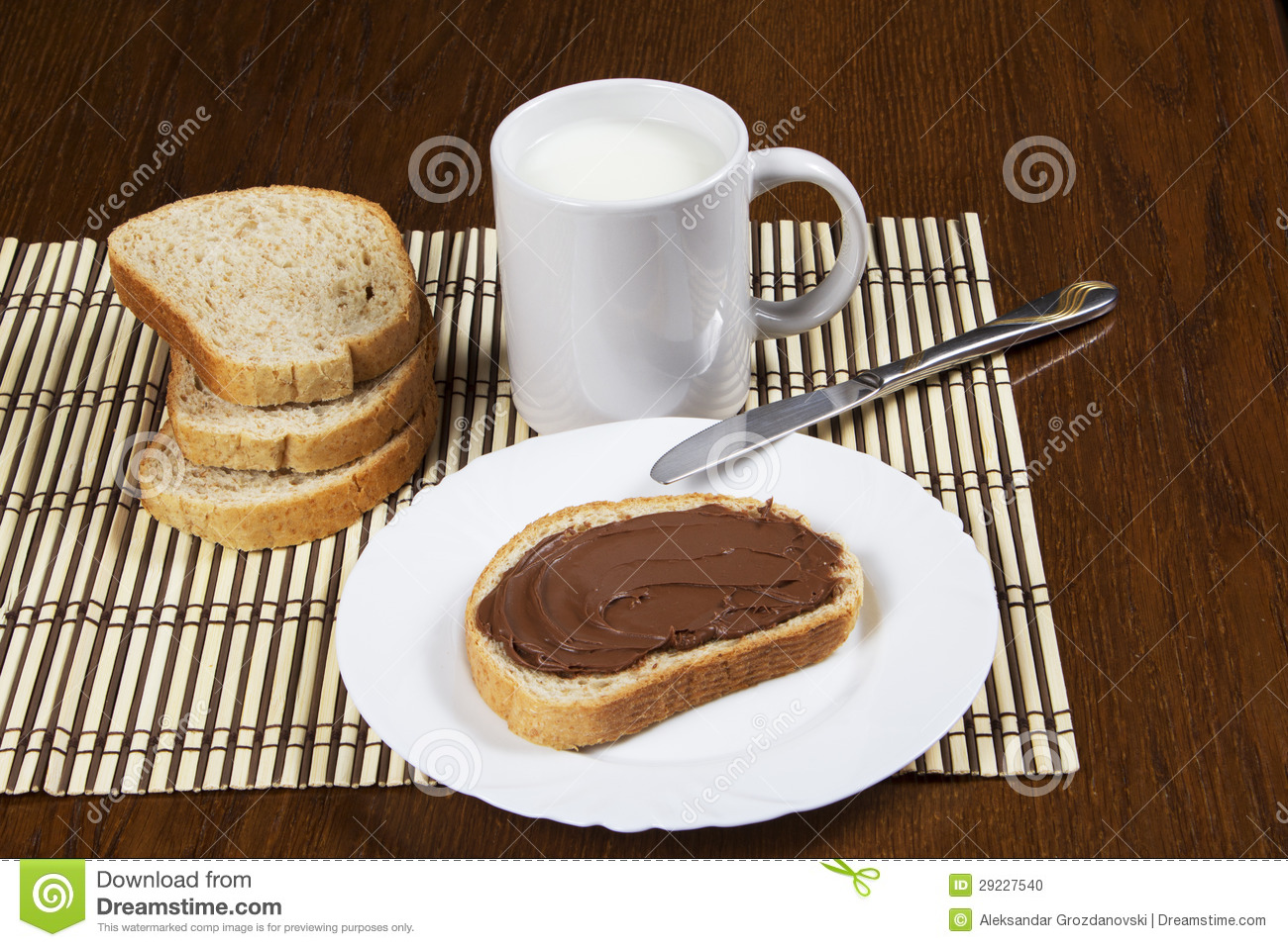 Bread With Chocolate Spread Stock Photo - Image: 29227540