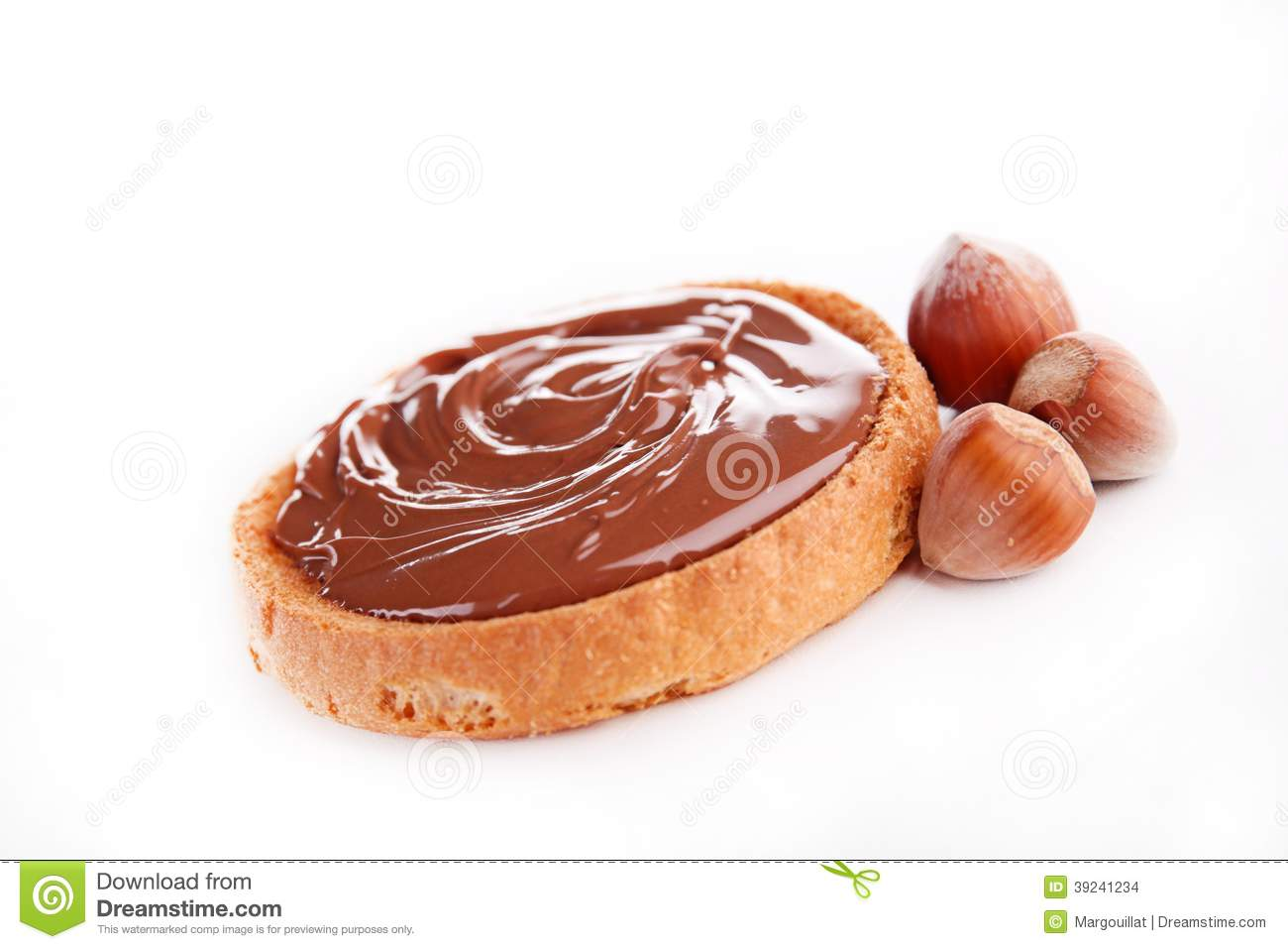 Bread And Chocolate Spread Stock Photo - Image: 39241234