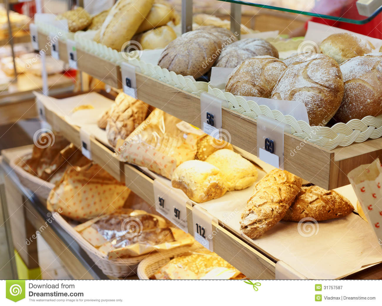 bread on the counter stock image image of display retail 31757587. Black Bedroom Furniture Sets. Home Design Ideas