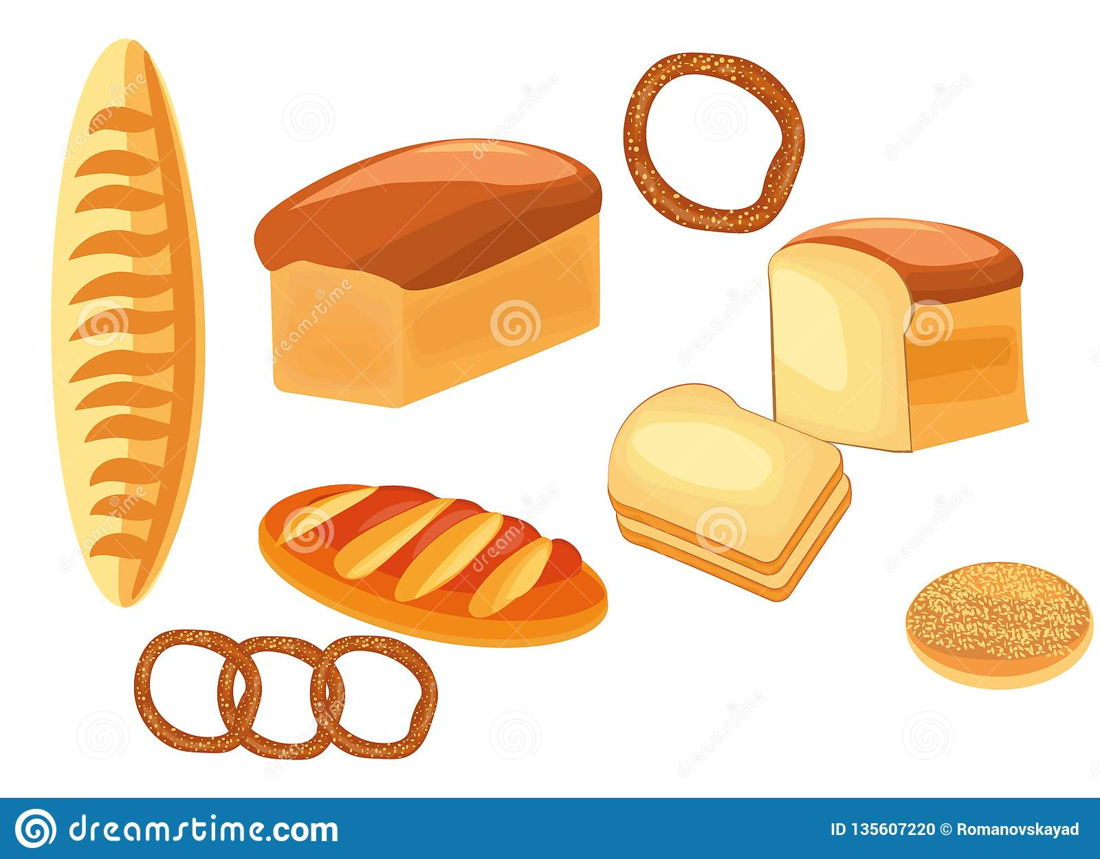 Bread Different Types Of Bread Bread Loaf Bagel Bun Baguette Stock Vector Illustration Of Delicious Isolated 135607220