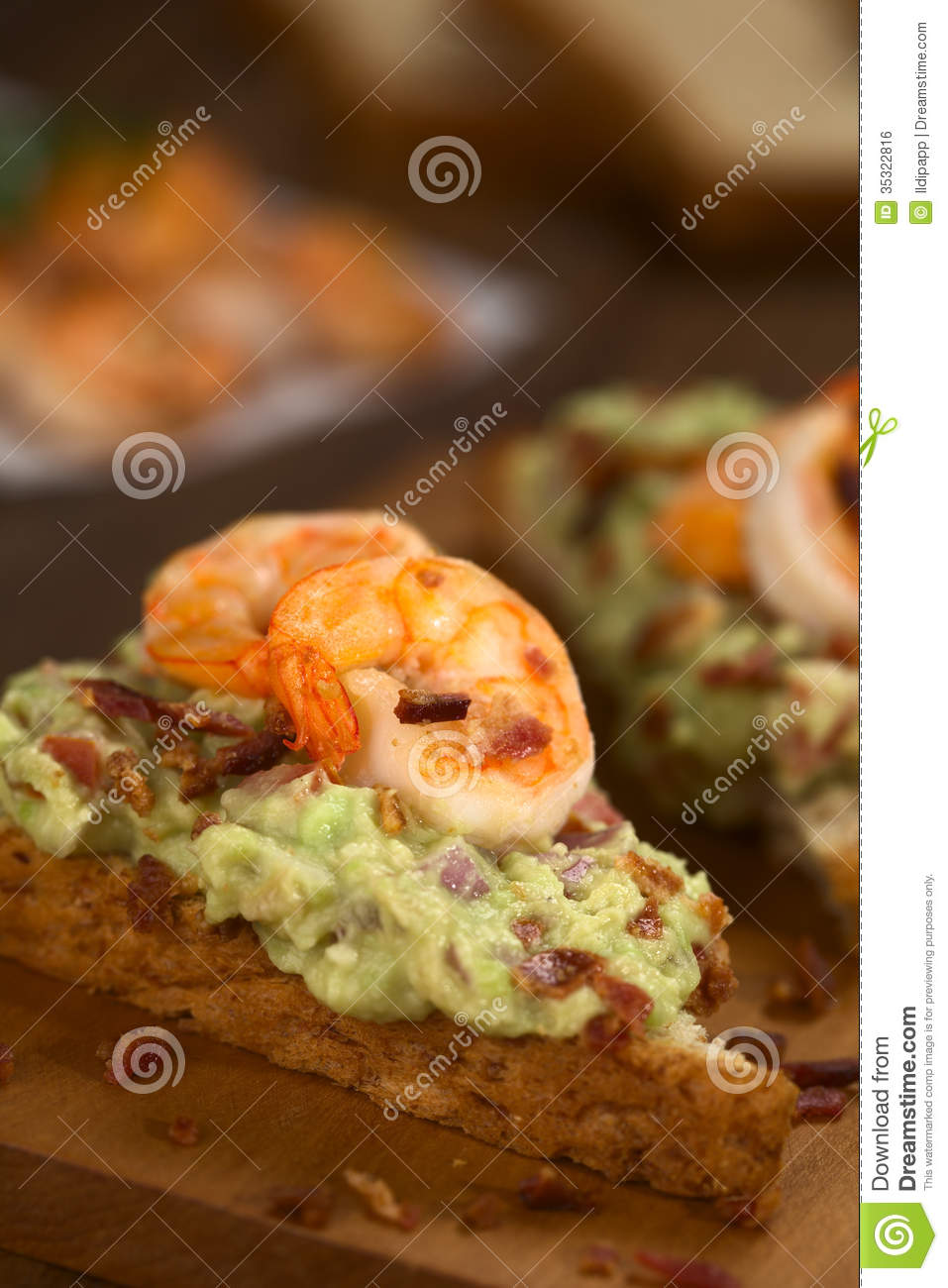 Bread With Guacamole, Shrimp And Bacon Royalty Free Stock ...