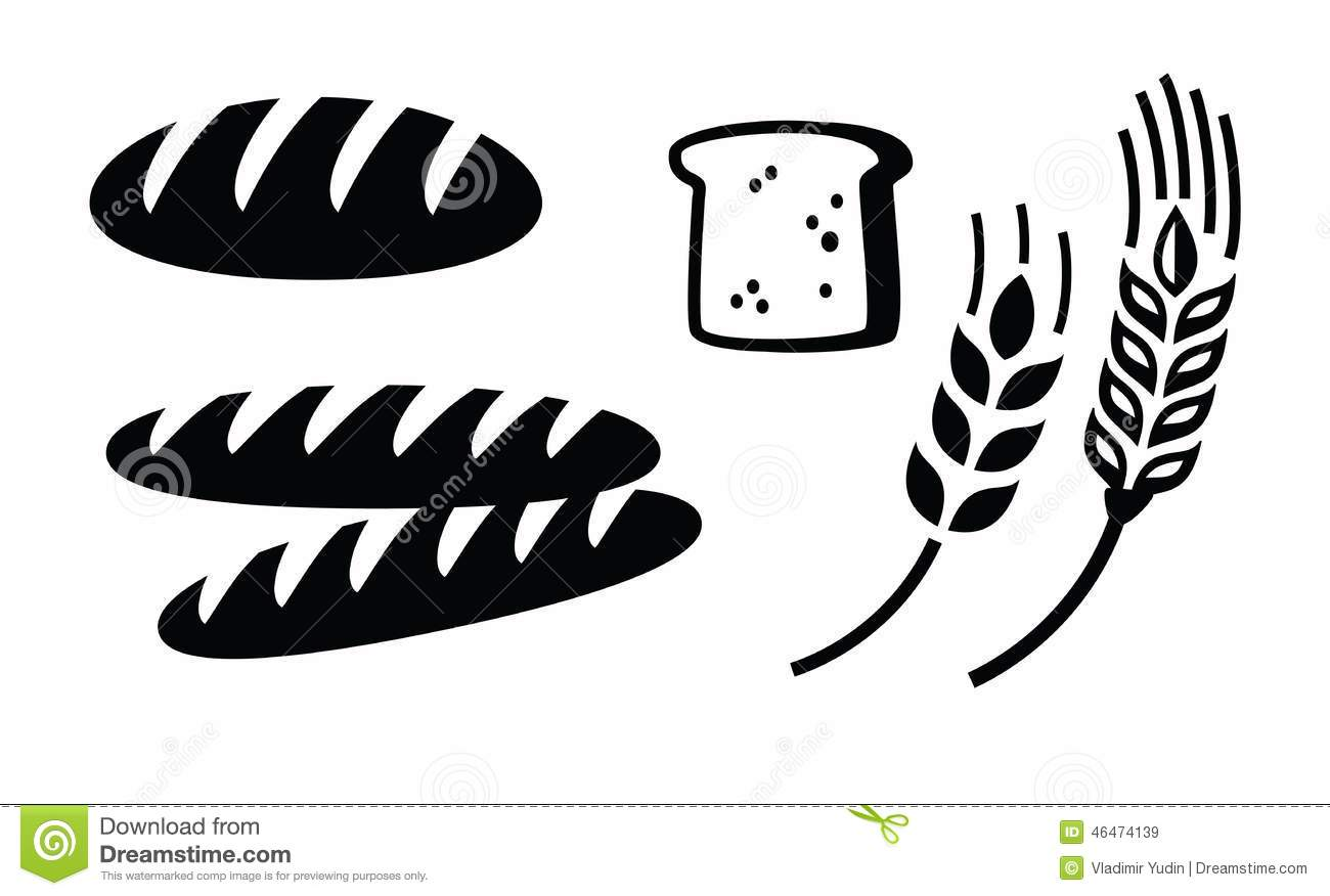 Vector black illustration of bread icon on white.