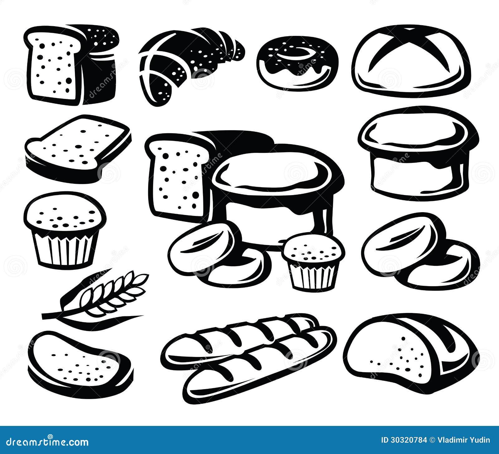 Stock Images Bread Icon Vector Black Set White Image30320784