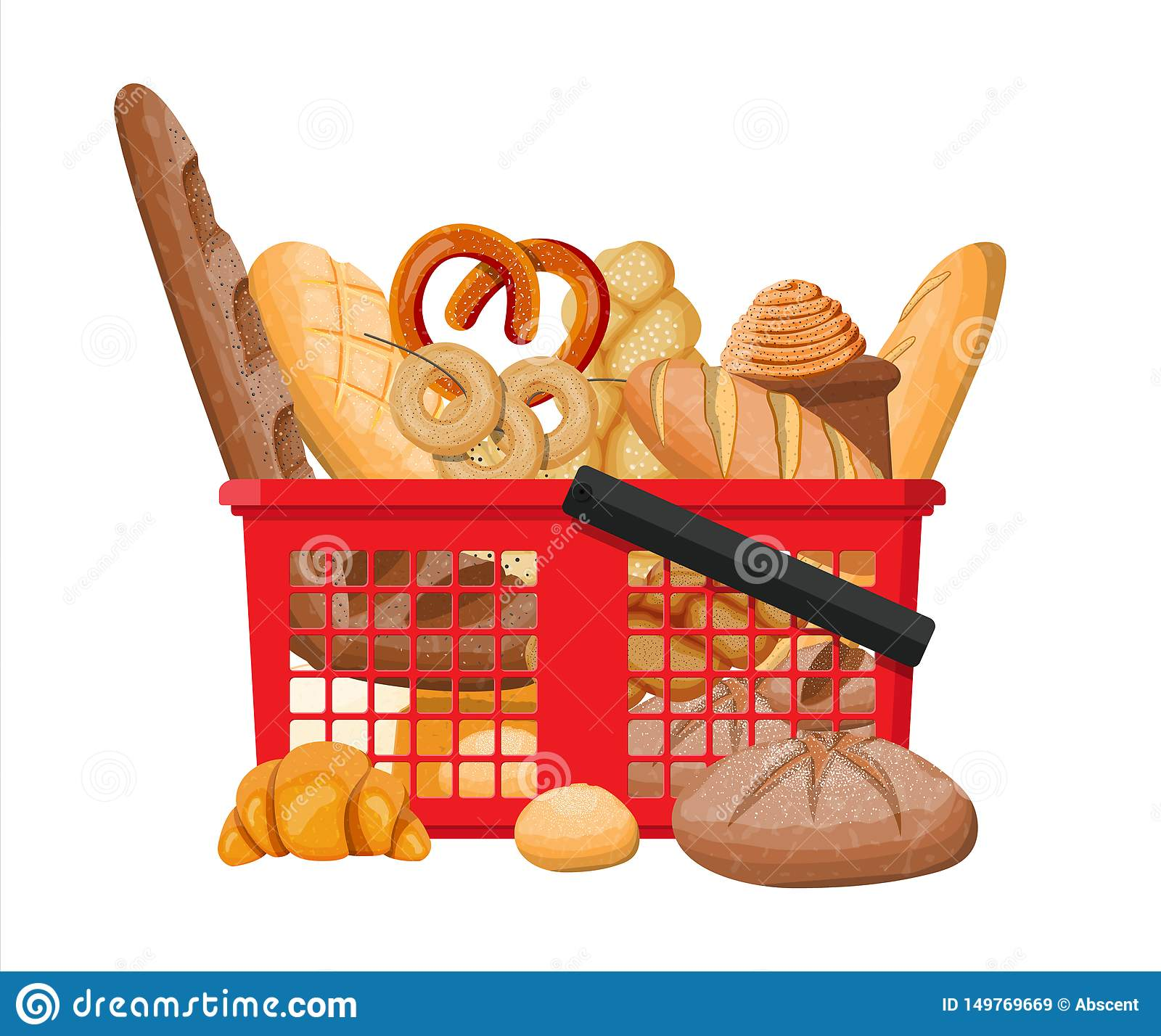 Bread icons and shopping basket.