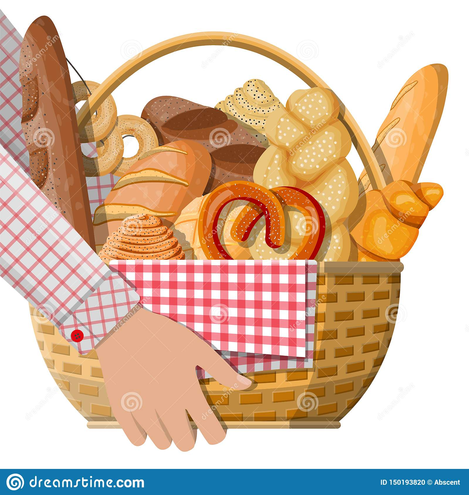 Bread icons and wicker basket in hand.