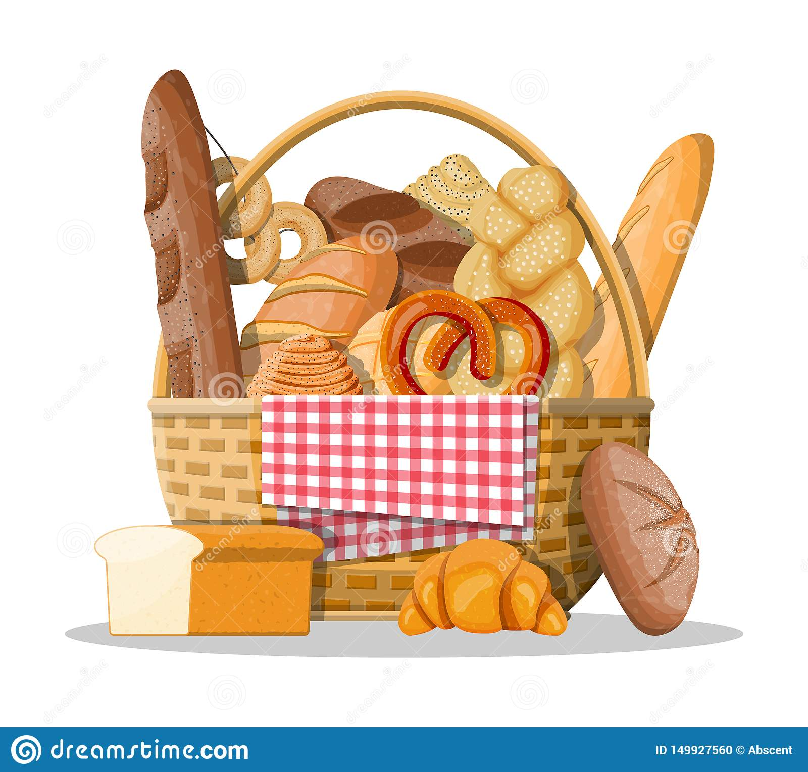 Bread icons and wicker basket.
