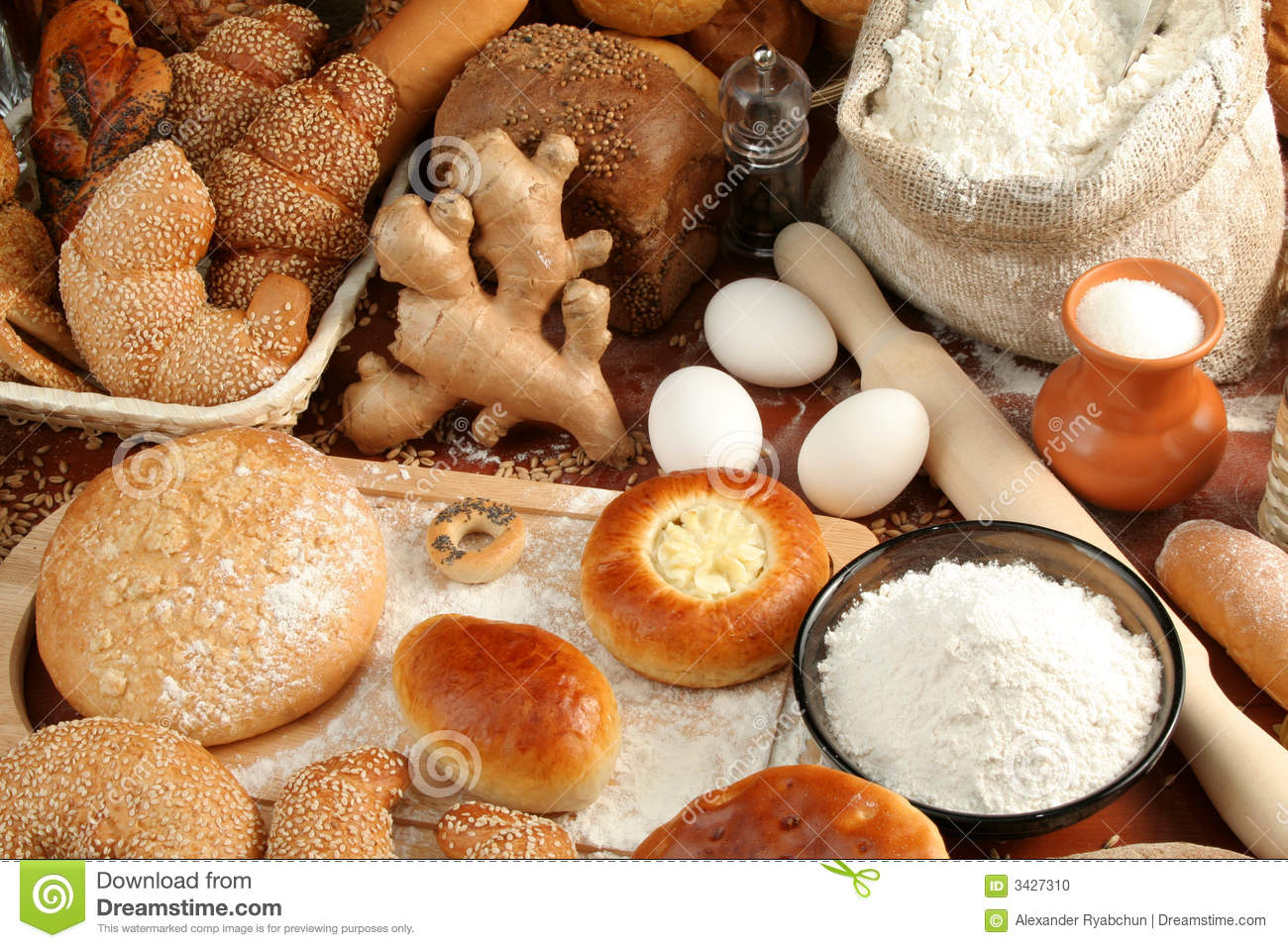Bread and ingredients
