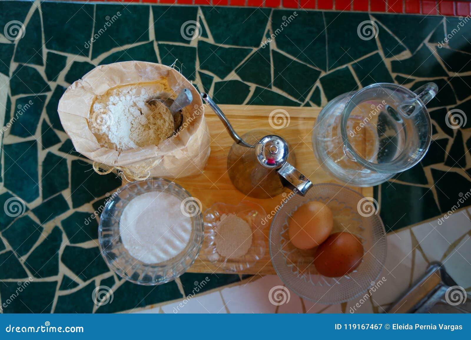 Bread ingredients on wooden board