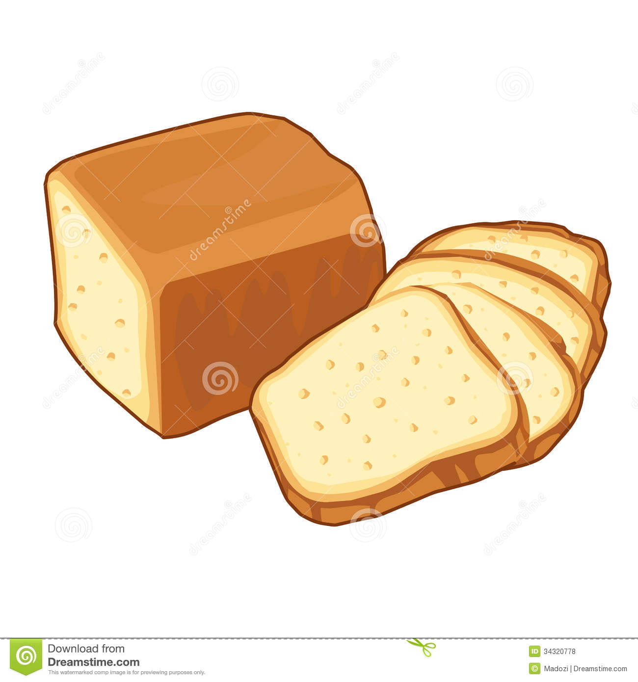 Bread loaf Isolated illustration