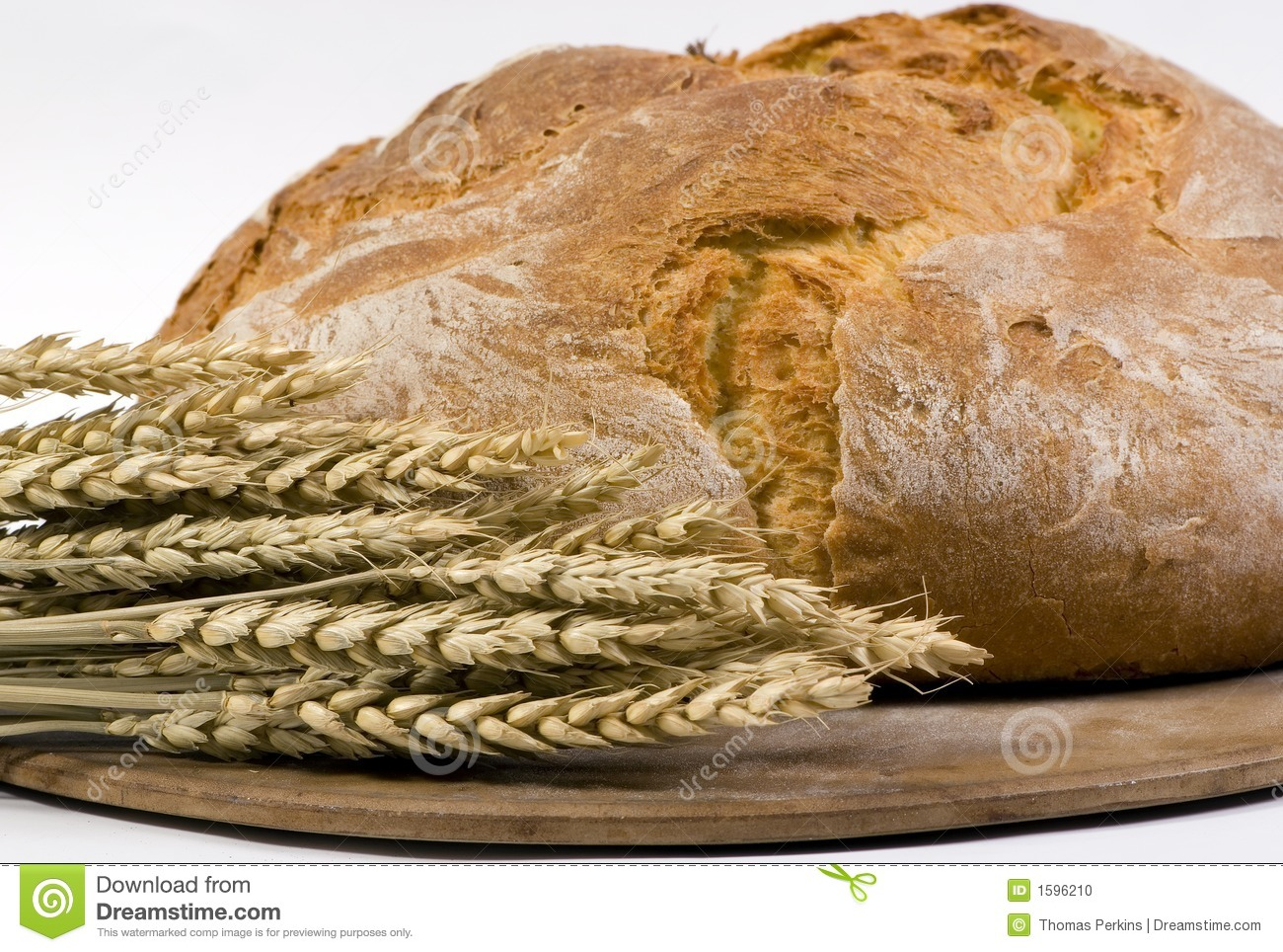 Bread Loaf With Wheat On Pan 3/4 Shot Stock Photo - Image of oats