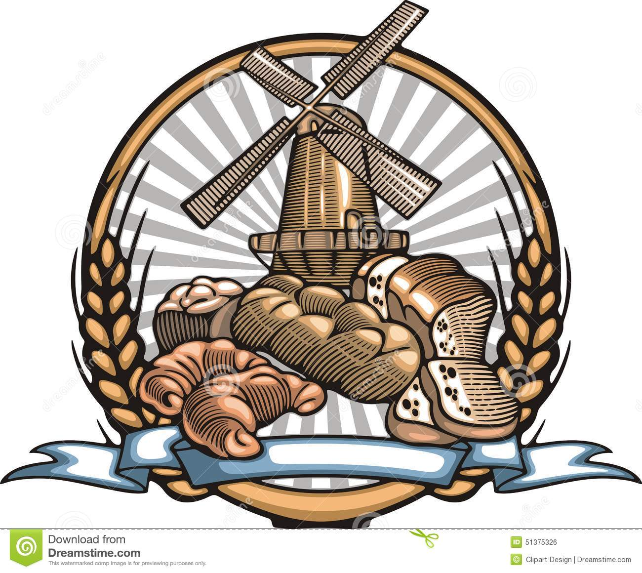 Bread Making Vector Illustration in Woodcut Style