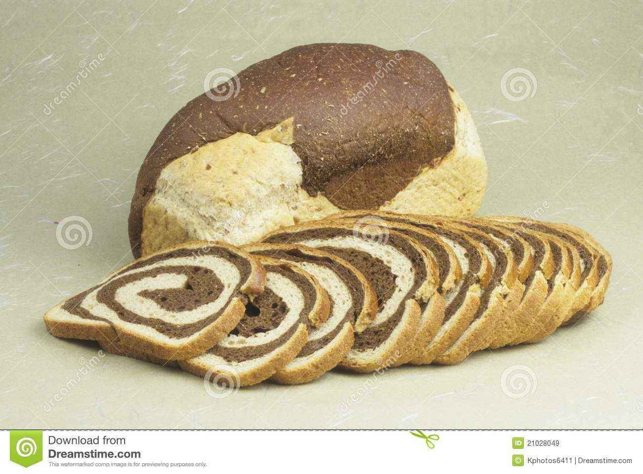 Bread marble rye loaf and slices