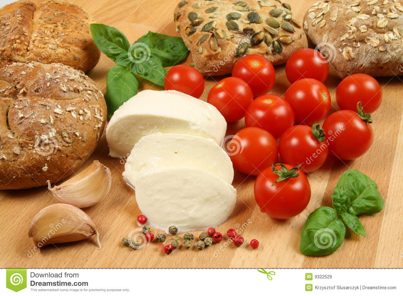 Bread, Mozzarella, Tomatoes Royalty Free Stock Images - Image: 9322529
