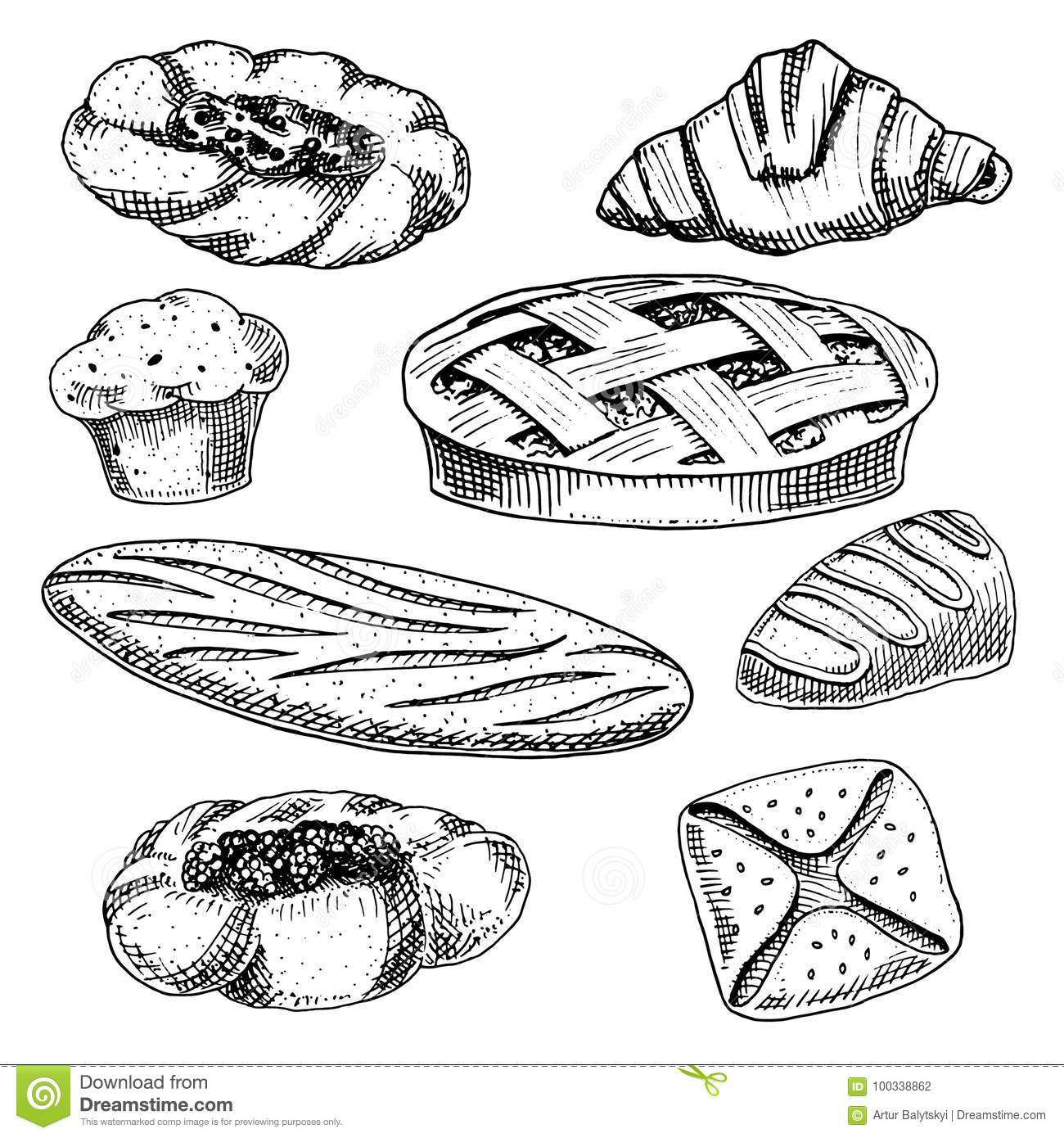 bread and pastry donut, long loaf and fruit pie. cupcake and sweet