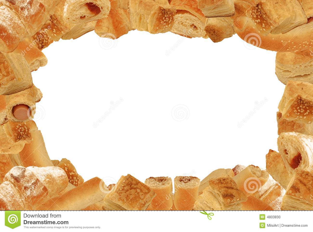 format landscape frame of different bread and pastry goods without ...