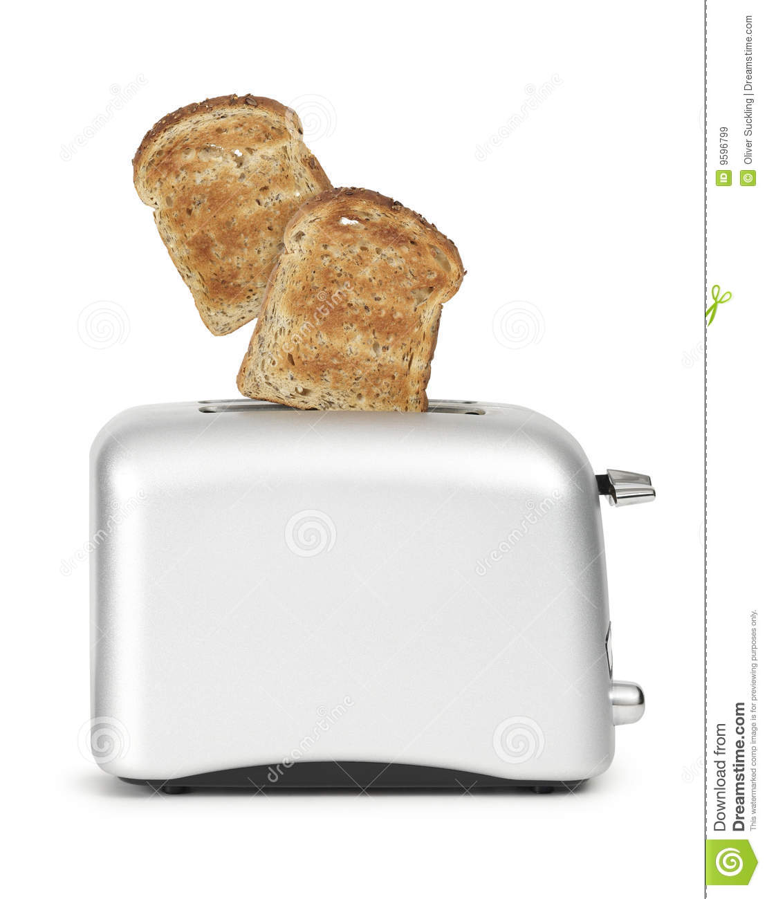 Toast In Toaster ~ Bread popping out of toaster stock image