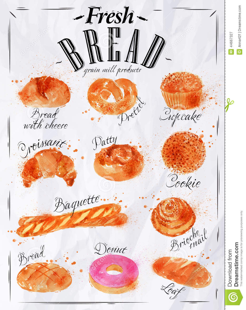 Bread Products Poster Paper Stock Vector Illustration Of