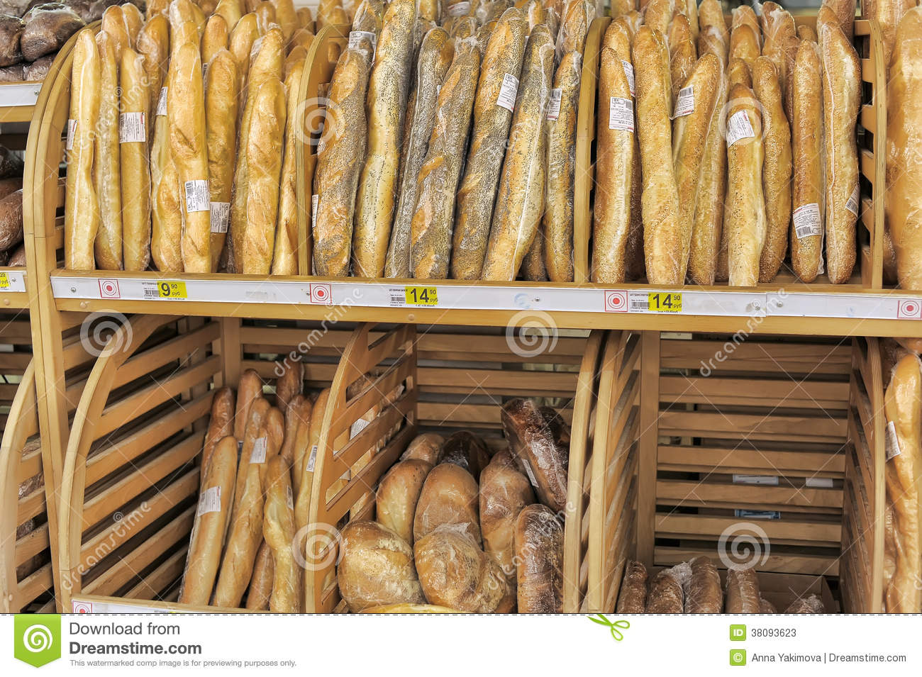 Bread for sale on a store shelves.
