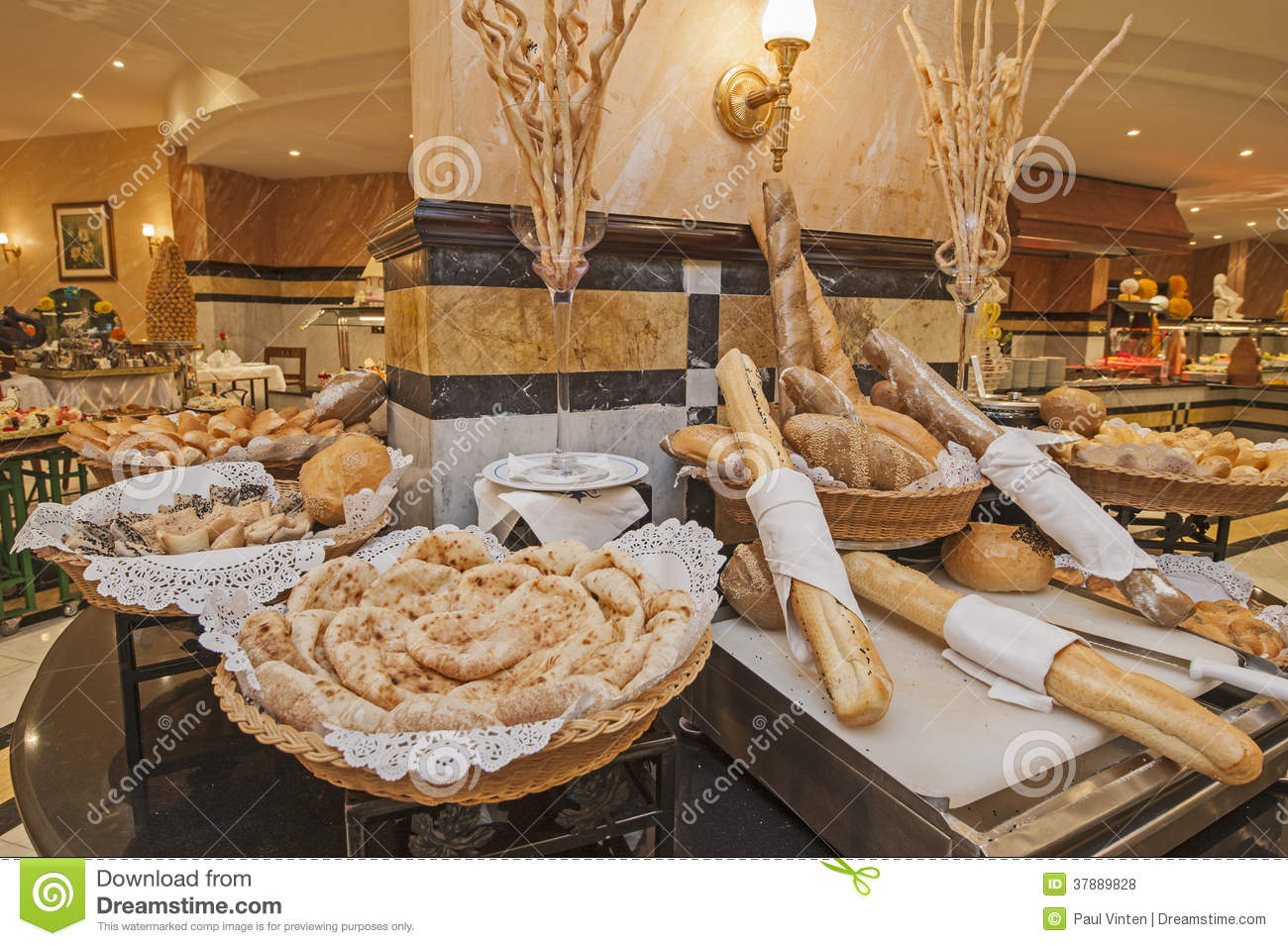Bread Selection At Hotel Buffet Stock Photo Image Of