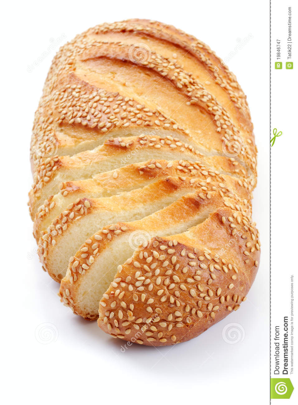 Bread With A Sesame, Over White Royalty Free Stock ...