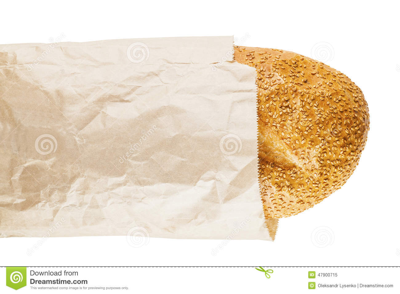 Bread with sesame seeds in a paper on a white background isolated.