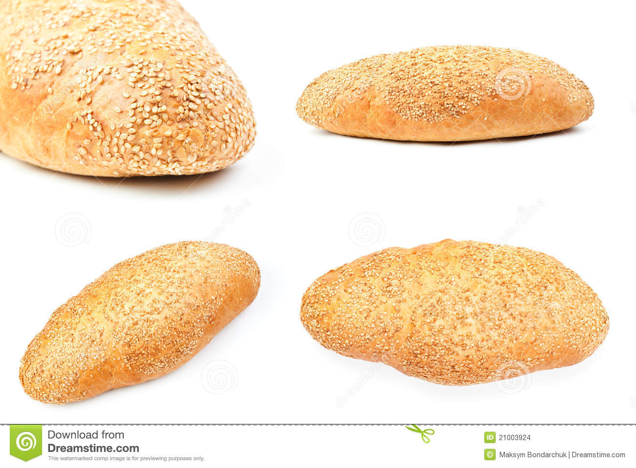 Bread With Sesame On White Stock Images - Image: 21003924