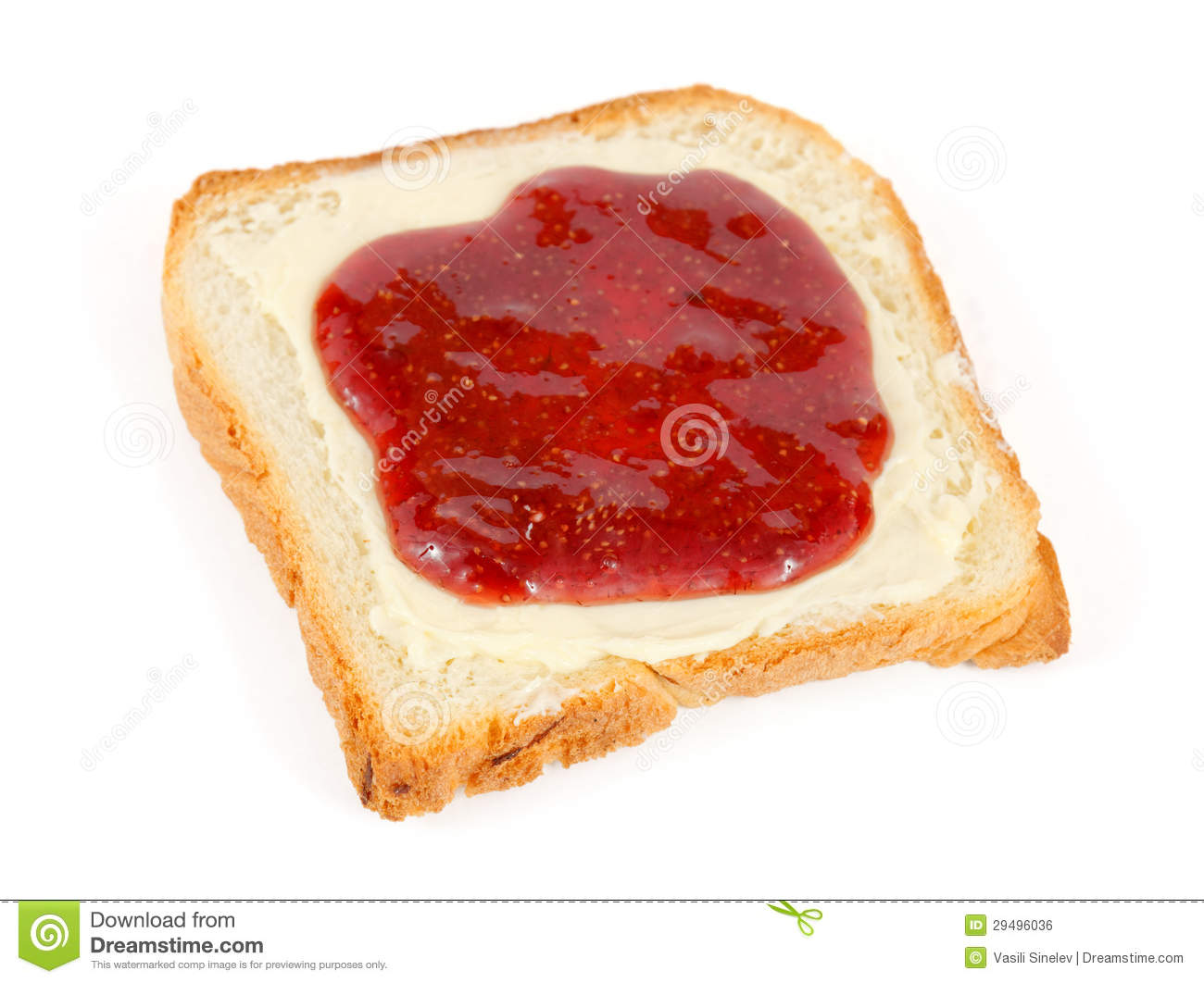 Bread Slice With Butter And Jam Royalty Free Stock Image - Image ...