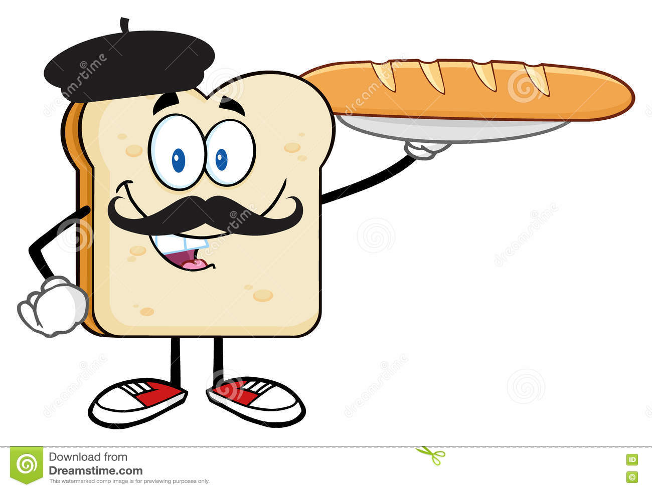 Download Bread Slice Character With Baret And Mustache Presenting Perfect French Baguette Stock Illustration