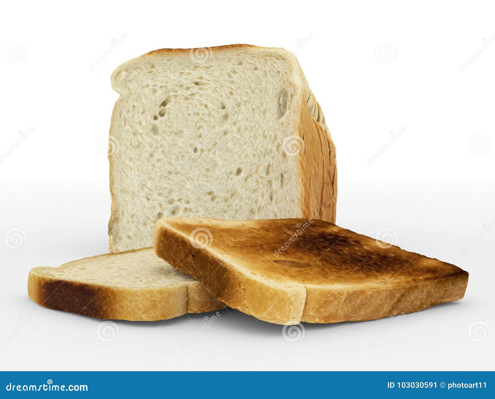 Bread sliced - toast - arrangement on white