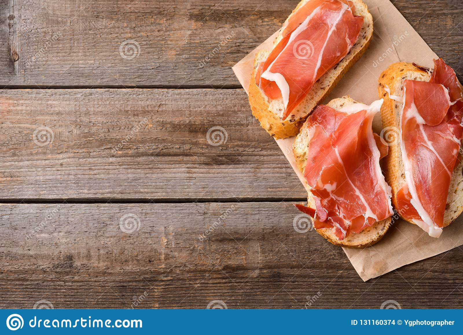 Bread and slices of meat