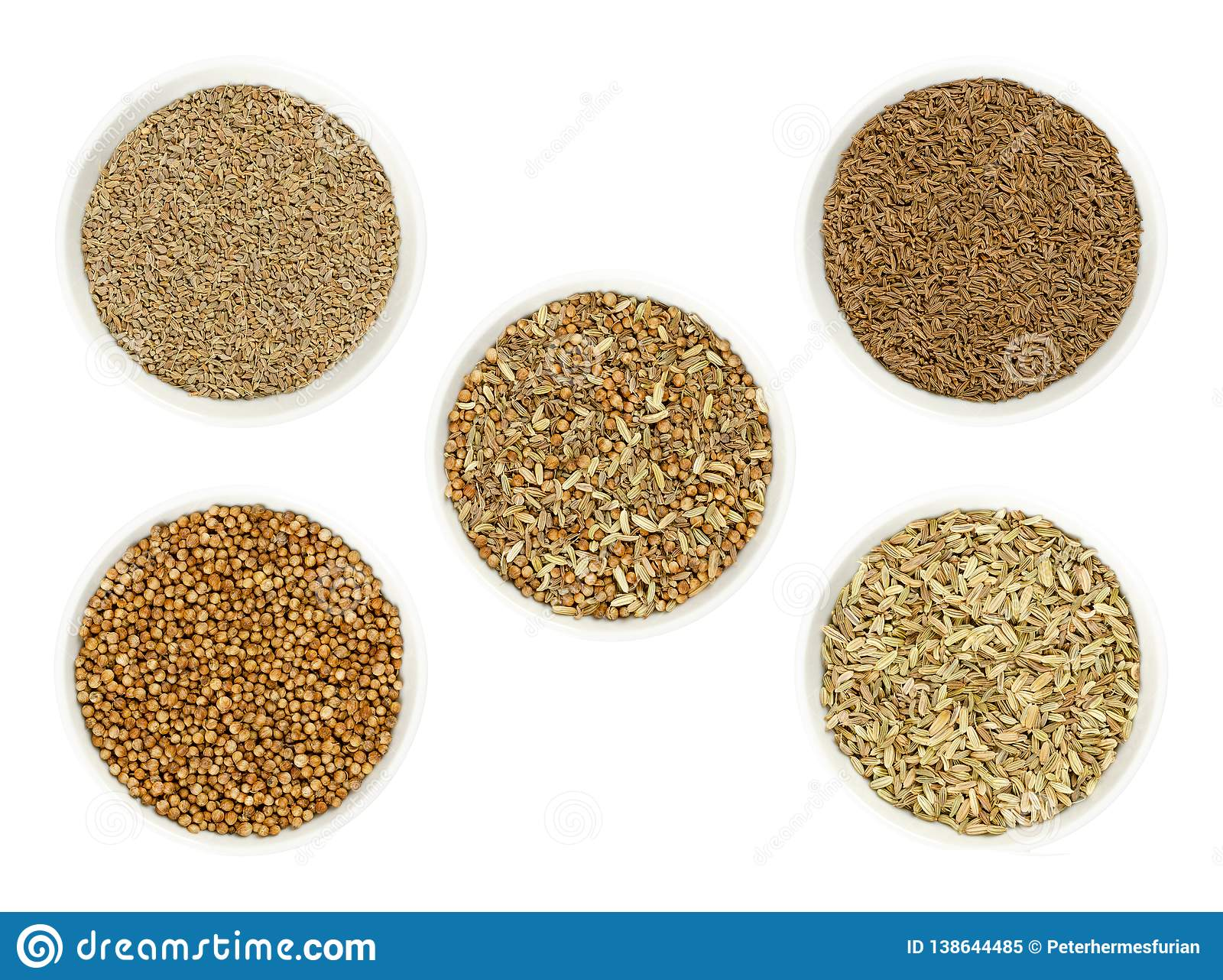 Bread spice mixture surrounded by ingredients in bowls over white