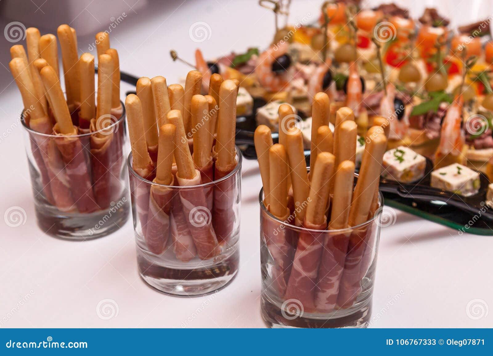 Bread Sticks With A Prosciutto In A Glass Stock Image ...