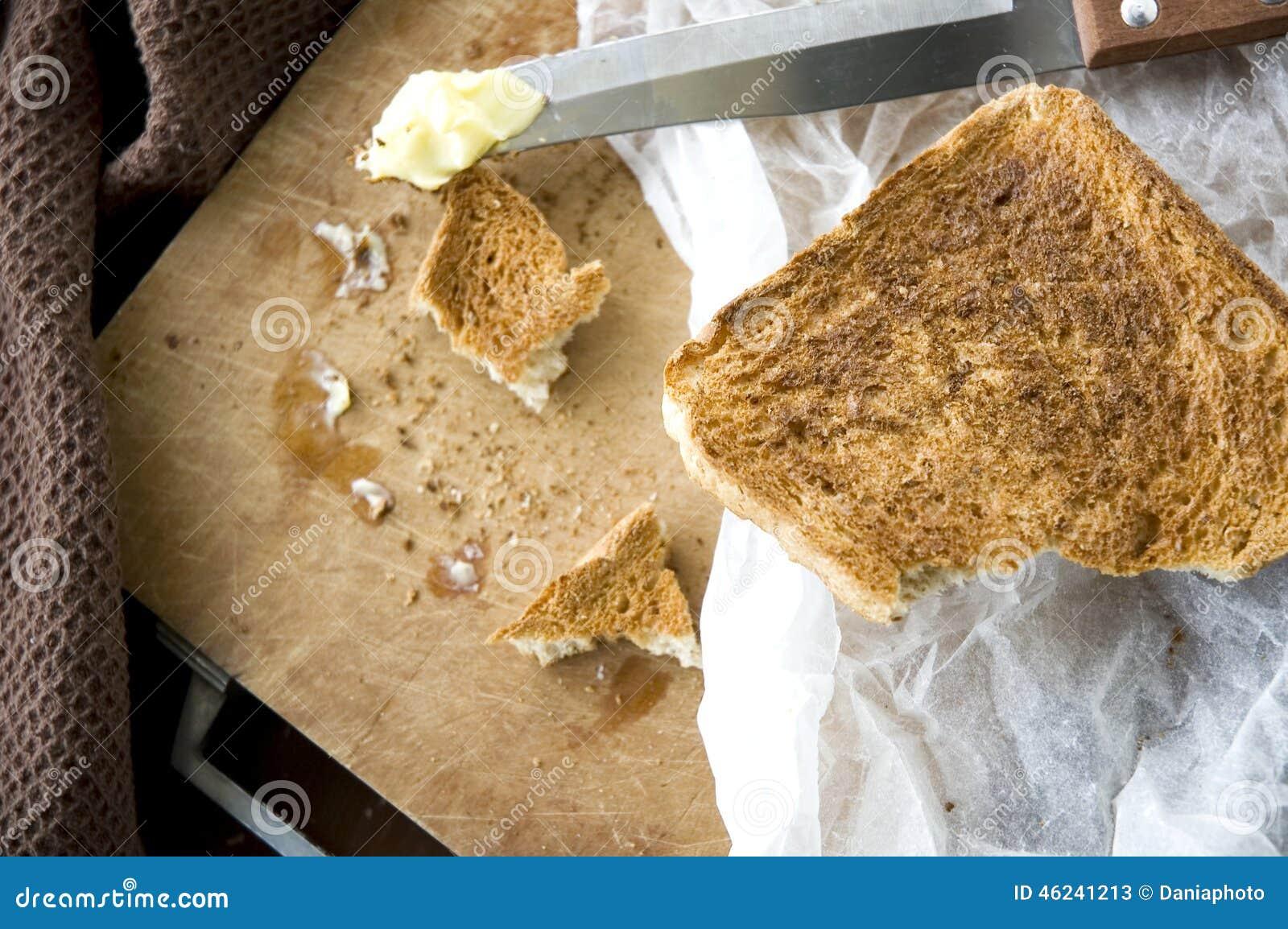 Bread toast in kitchen