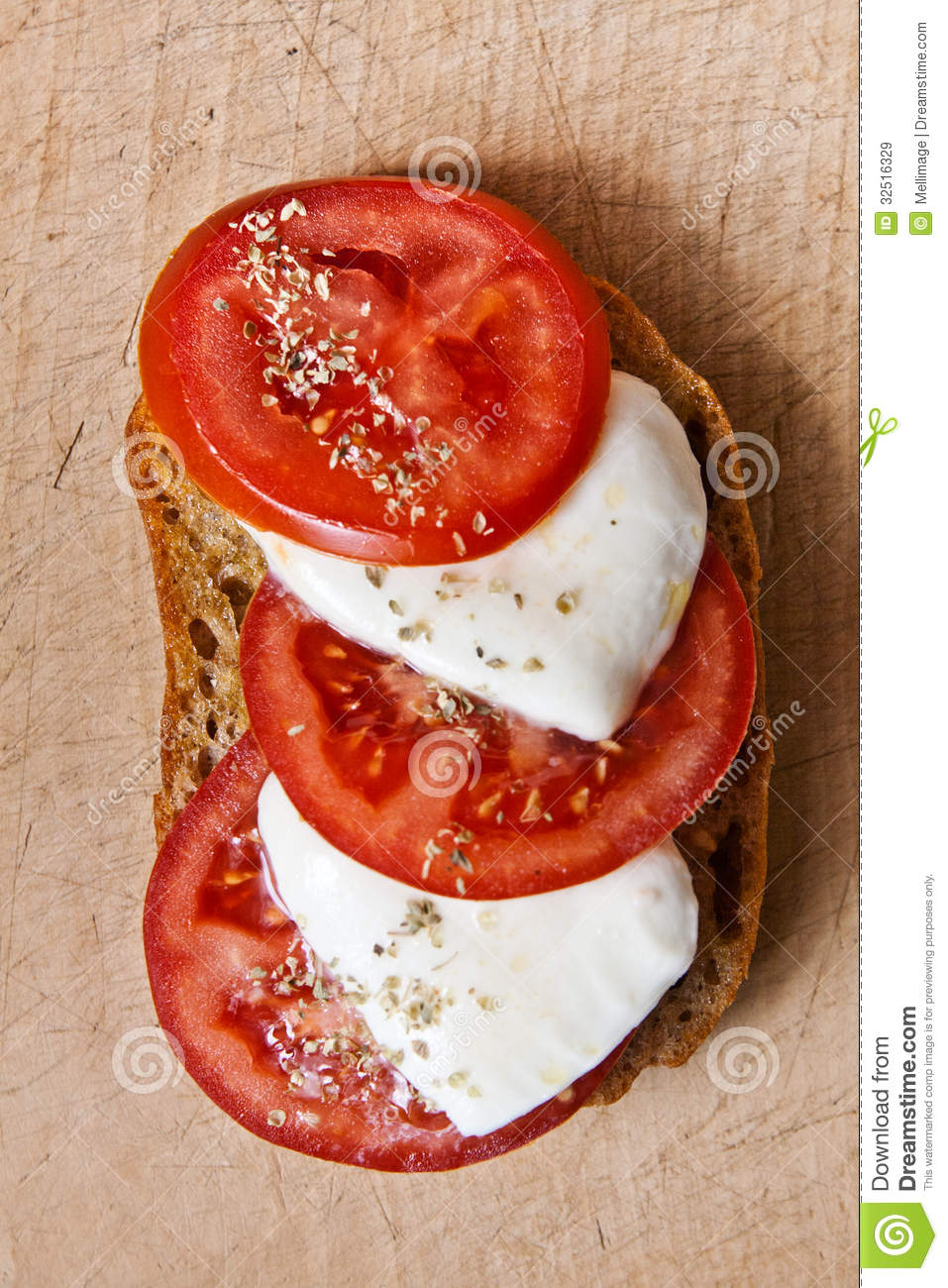 Bread With Tomato And Mozzarella Royalty Free Stock Images - Image ...