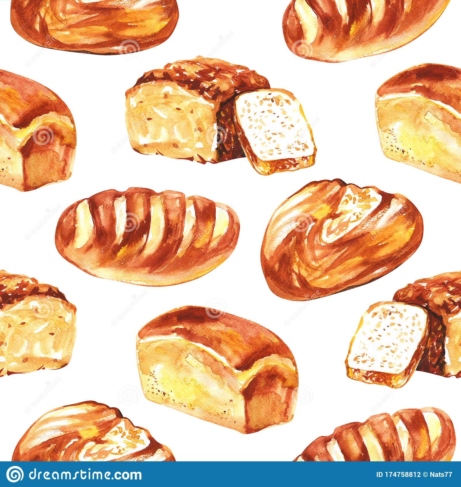 Bread Watercolor Isolated On White Background Seamless Pattern For All Prints On Hand Painting Style Stock Illustration Illustration Of Baked Meal 174758812